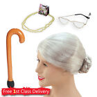 Granny Accessories Old Lady Wig Glasses OAP Fancy Dress Accessories Grandma Set