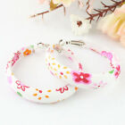 Sweet Girl's Flower Print Hoop Huggie Earrings Fabric 3 Colors New