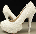 Ladiese Bead Lace Handmade Rhinestone Wedding Party shoes High Heels Free P&P