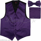 Deep Purple Solid Vest Waistcoat Straight Cut Bow Tie Set Suit or Tuxedo Wedding