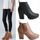 WOMENS LADIES CHELSEA MID HIGH CHUNKY BLOCK HEEL PLATFORM ANKLE BOOTS SHOES SIZE