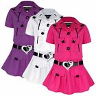 GIRLS BELTED SLEEVELESS DRESS DIAMANTE HEART DESIGN & SHORT SLEEVE JACKET 3-12 Y