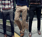 Korean Men's Straight Pants Slim Fit Solid Color Formal/Casual Business Trousers
