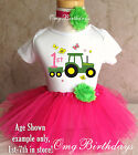 Tractor Farm Machine Pink Green Girl 1st First Birthday Tutu Outfit Shirt Set