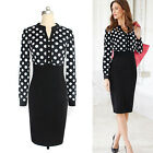 Sexy Womens Summer Polka Dot Business Cocktail Party Bodycon Pencil Formal Dress
