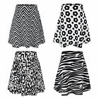 GIRLS SKATER FLARE SKIRT MONOCHROME FLOWER AZTEC ZEBRA CHEETAH PRINT 3-14Y