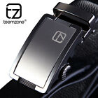Full Grain Leather Cowhide Men's Brand Waist Belt Alloy Automatic Buckle Black