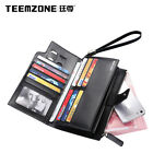 teemzone Men Genuine Leather Wrist Clutch Handbag Phone Pocket Zipper Wallet NEW