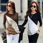 New Women T-Shirt Color Patchwork Crew Neck Long Sleeves Casual Slim Blouse Tops