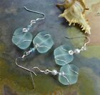 Seafoam Green Sea Glass Silver Earrings-Green Freeform Recycled Glass Earrings