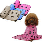 Winter Pet Small Medium Large Paw Print Pet Cat Dog Fleece Soft Blanket Beds