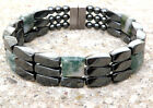 Mens Womens Magnetic Hematite Bracelet Anklet MOSS AGATE Strong 3 ROW QUICK Ship