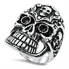Stainless Steel Floral Design Sideway Skull Front Open Cut Bike Ring Size 9-16