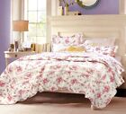 Shabby Chic Old-time Rose 100% Cotton Quilt Set, Bedspread, Coverlet