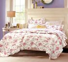 Shabby Chic Vintage Rose 100% Cotton Quilt Set, Bedspread, Coverlet image