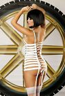 DIRECT FROM EUROPE EXTREMELY UNIQUE WHITE CAGE BONED ADJUSTABLE GARTER MINIDRESS