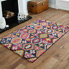 MEDIUM MODERN LARGE BLACK WHITE PINK YELLOW RED  HEXAGON MULTI- COLOUR RUGS