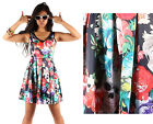 Iron Fist Roaming Hearts Punk Rock Floral Skull Party Dress V Neck Fit n Flare