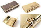 Womens Genuine leather kiss lock trifold clutch wallet - Gold, Silver