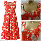 NEW MARISOTA DRESS RED BEIGE FLORAL LEAF PRINT COTTON SUMMER PLUS SIZE 12 - 26