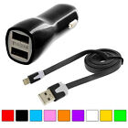 Noodle Flat Sync Usb Data Cable Cord 3ft + 2.1a Rapid Car Charger For Iphone