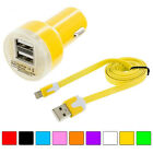 Noodle Flat Sync Usb Data Cable Cord 3ft + Fast Charging Car Charger For Iphone