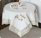 New Handmade Embroidered Floral Daisies Linen Faberic Tablecloth 7 Sizes ZHT154