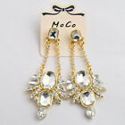 Women VTG Floral Drop Dangle Crystal Shiny Party Prom Wedding Pierced Earring C