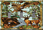 Light Switch Plate Cover - Animals stained glass faux finish - Bears eagle deer
