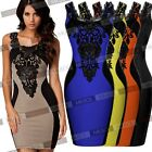 Ladies Sexy Floral Lace Contrast Cocktail Party Evening Bodycon Short Prom Dress