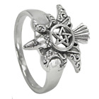 Sterling Silver Raven Pentacle Ring - Crow Wiccan Pentagram Wicca Moon Jewelry