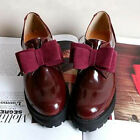 New Womens PU Leather Bow Slip On Creeper Platform Shoes Black Red Shoes XWD1762