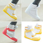 NEW Womens Velcro High Top Wedge Sneakers Girl Shoes Boots Skateboard Trainers