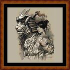 TIGER SAMURAI -14 COUNT CROSS STITCH CHART PDF/PRINTED  FREE PP WORLDWIDE