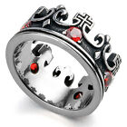 Men's Vintage Red Silver Crown Cubic Zirconia 316L Stainless Steel Rings