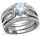 Size 8 9 10 P R T 3PC Heart WEDDING Engagement Ring SET Stainless Steel LTK2041E
