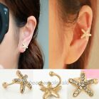 Women's Personality Crystal Starfish Charm Ear Clip Cuff Earring Stud Novel Ear