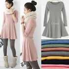 Fashion Women Ladies Dress Long Sleeve Grinding Wool Soft Basic One-piece Dress