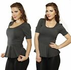 Gray New Slim Fitted short sleeve Peplum Evening Stretch Casual Tee Shirt Top