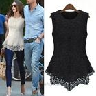 Women Fashion Lace Blouse Sleeveless shirt vest Doll Chiffon Tops S-XXXXXL