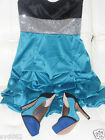 "Womens ""Ruby Rox"" Teal, Black & Silver Gathered bubble  A- Line Sleeveless Dress"