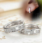 18k Silver Hoop Earrings Swarovski Crystal Heart Stud Women Round Charming Hot