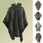 black poncho with hood - LLAMA WOOL MENS CAPE PONCHO COAT JACKET WITH HOOD INDIGENOUS HANDMADE IN ECUADOR