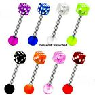Tongue Bars 1.6mm x 16mm Surgical Steel Barbells with 5mm Dice Ball