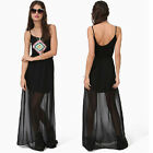 Sexy Women Strap Plunge Open Back Stretch Waist Eve Cocktail Beach Party Dress C