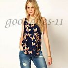 Fashion Butterfly Print Chiffon Tops Sleeveless Loose Summer Casual Women Blouse