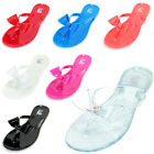 Kids Girls Jelly Flip Flops Bow Ribbon Thong Flat Summer Beach Sandals Shoes