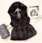 100% Real Genuine Knit Mink Fur Vest Gilet Waistcoat Sweater Hoody Classic V0036