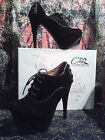 ***REDUCED*** Luxury Leather Lined Lace-Up Black Stiletto Platform Ankle Boots