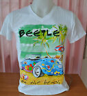 Women Men's White T-shirts V neck Short Sleeve Beetle on the Beach Size S,M,L